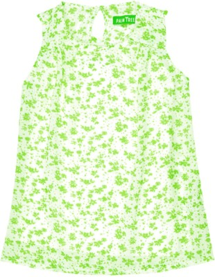 Palm Tree Casual Sleeveless Printed Girl's Green, White Top
