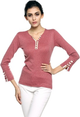 1410 Beach Wear, Casual, Lounge Wear, Party, Formal Full Sleeve Solid Women's Red Top