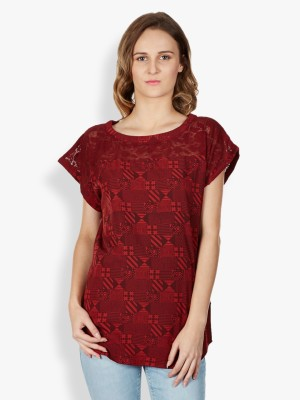 Tokyo Talkies Casual Short Sleeve Printed Women's Red Top