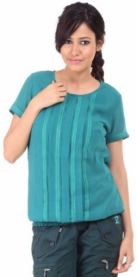 Fashion Planet Casual Short Sleeve Solid Women's Green Top