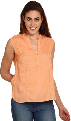 Miss Chick Festive Cape Sleeve Solid Women's Orange Top