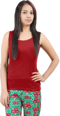 Softwear Casual Sleeveless Solid Women's Red Top