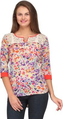 Motif Casual 3/4 Sleeve Printed Women's Multicolor Top