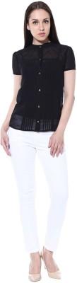 pinaki perryhills Casual Short Sleeve Solid Girl's Black Top