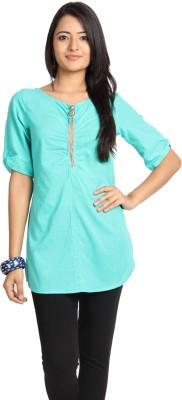 Vandanaraj Casual 3/4 Sleeve Solid Women's Green Top