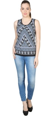 Kg&S Casual Sleeveless Striped Women's Black Top