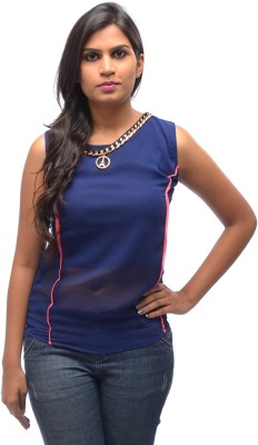 Shanu Collection Casual Sleeveless Solid Girl's Dark Blue Top