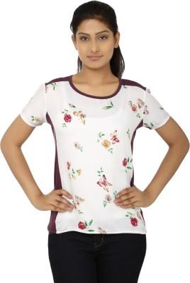 Aussehen Casual Short Sleeve Floral Print Women's Purple, White Top