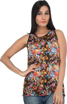 Mineral Casual Sleeveless Printed Women's Black Top