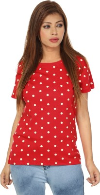 Passion Casual Short Sleeve Printed Women's Red, White Top
