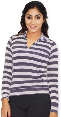 Riot Jeans Casual Full Sleeve Striped Women's Dark Blue Top