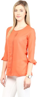 Rare Casual 3/4 Sleeve Solid Women's Orange Top