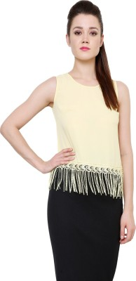 AT BY TARUNA Casual Sleeveless Solid Women's Yellow Top