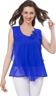IshinDesignerStudio Casual Sleeveless Solid Women's Blue Top