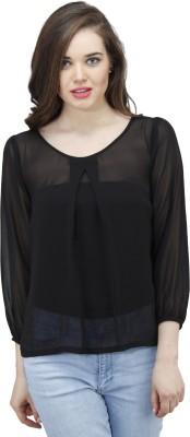 Osumfab Casual 3/4 Sleeve Solid Women's Black Top