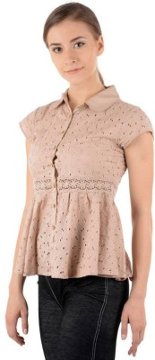 Pret a Porter Casual Puff Sleeve Embroidered Women's Pink Top