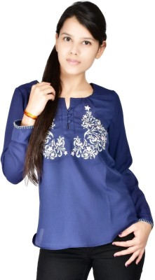 Palette Casual Full Sleeve Embroidered Women's Blue Top