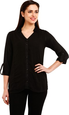Mustard Casual 3/4 Sleeve Solid Women's Black Top