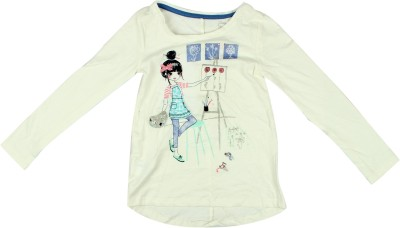 Parv Collections Casual Full Sleeve Graphic Print Girl's White Top
