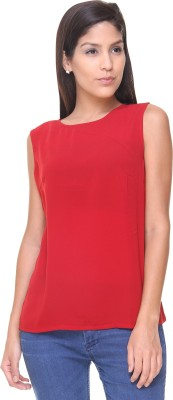 Alibi By Inmark Casual Sleeveless Solid Women,s Red Top