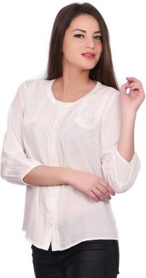 Orange Plum Casual 3/4 Sleeve Solid Women's White Top