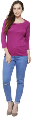 Fugue Casual 3/4 Sleeve Solid Women's Purple Top