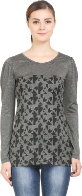 Wear Berry Party Full Sleeve Printed Women's Grey Top