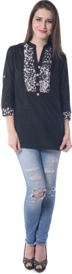 Florrie Fusion Casual Roll-up Sleeve Solid Women's Black Top