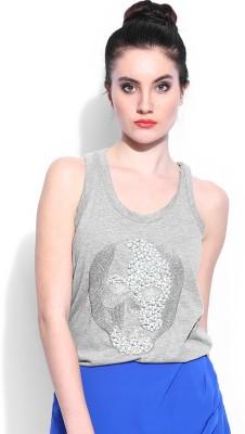 Noble Faith Casual Sleeveless Embellished Women's Grey Top
