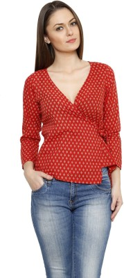 Fusion Mela Casual Full Sleeve Printed Women's Red Top