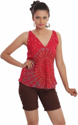 Indi Bargain Casual, Formal, Beach Wear, Sports, Festive Sleeveless Floral Print Women's Red Top