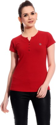 Rose Taylor Casual Short Sleeve Solid Women's Red Top