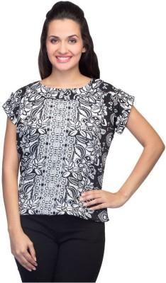 Tara Lifestyle Casual Short Sleeve Floral Print Women's Black Top