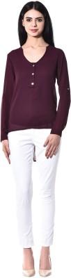 pinaki perryhills Casual Full Sleeve Solid Girl's Purple Top