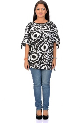 Instinct Casual, Festive Short Sleeve Floral Print Women,s Black, White Top