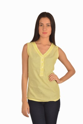 Miss Rich Casual Sleeveless Solid Women's Yellow Top