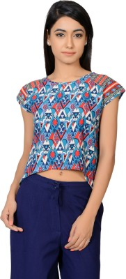 Juniper Casual Short Sleeve Printed Women's Blue Top