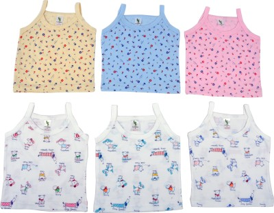 Cucumber Casual Sleeveless Printed, Self Design Baby Girl's Orange, Blue, Pink, White Top