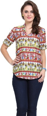 Modattire Casual Roll-up Sleeve Printed Women,s Multicolor Top