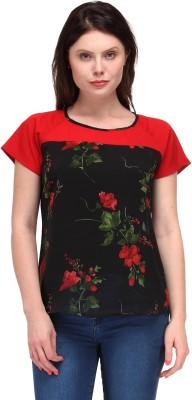 Motif Casual Short Sleeve Floral Print Women's Black, Red Top