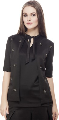 Elegn Casual, Party Short Sleeve Solid, Embellished Women's Black Top