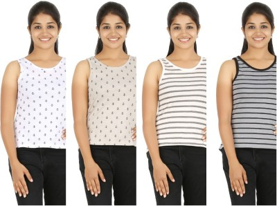 HALF INCH Casual Sleeveless Striped, Printed Women's White, Brown, White, Grey Top