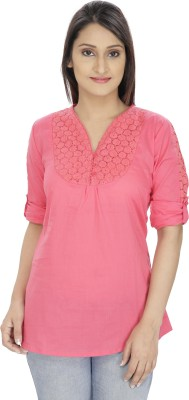 Franclo Casual Roll-up Sleeve Solid Women's Pink Top