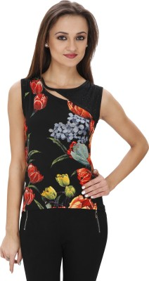 Svt Ada Collections Casual Sleeveless Printed Women's Black Top