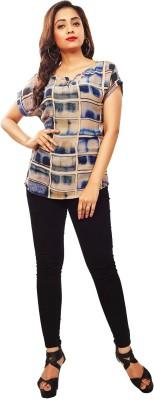 Reinvent Casual Short Sleeve Self Design Women's Blue Top