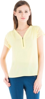 Kazo Casual Short Sleeve Embellished Women's Yellow Top