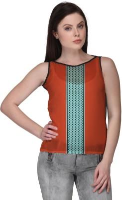 Avya Casual Sleeveless Geometric Print Women's Orange Top