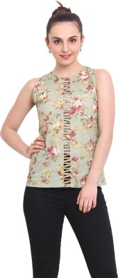 RSVP Cross Casual Sleeveless Floral Print Women's Green Top