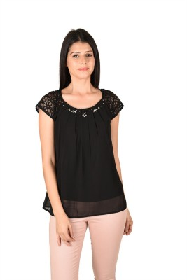 French Creations Casual Short Sleeve Solid Women's Black Top