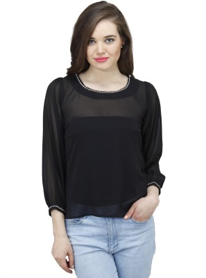 Osumfab Casual Full Sleeve Solid Women's Black Top